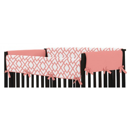 Mod Diamond White & Coral Collection Side Rail Guard Covers - Set of 2