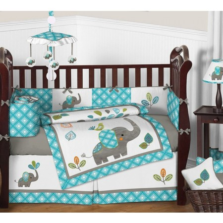 Mod Elephant 11 Piece Bumperless Crib Set by Sweet Jojo Design