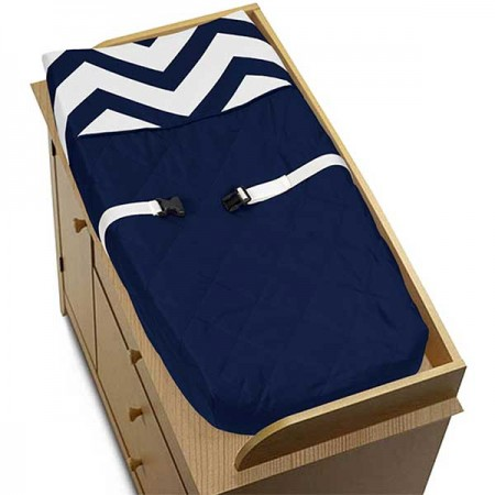 Navy & White Chevron Print Changing Pad Cover