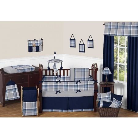 Plaid Navy Blue and Gray 11 Piece Bumperless Crib Set by Sweet Jojo Design