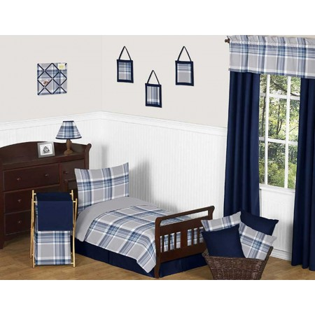 Navy Blue and Gray Plaid Toddler Bedding Set By Sweet Jojo Designs