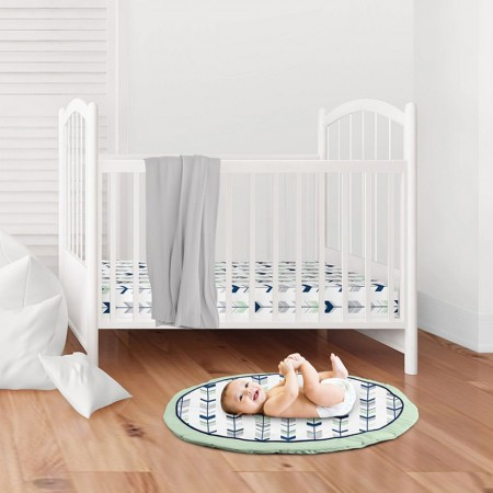 Woodsy Navy, Mint and Gray Playmat by Sweet Jojo Designs