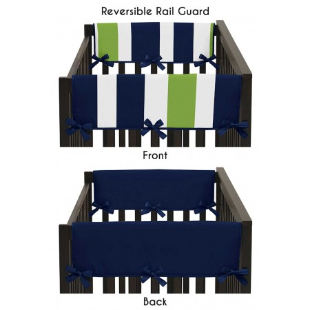 Navy & Lime Stripe Collection Side Rail Guard Covers - Set of 2