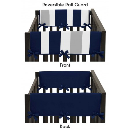 Navy & Gray Stripe Collection Side Rail Guard Covers - Set of 2