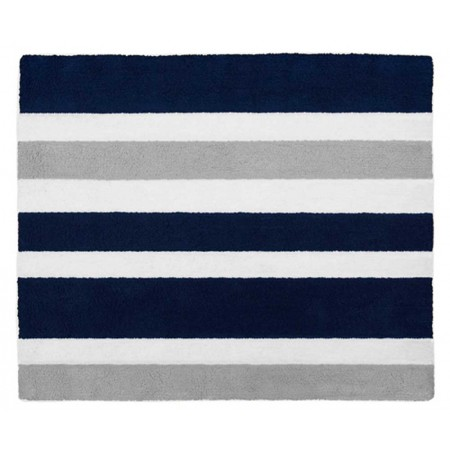 Navy & Gray Stripe Floor Rug