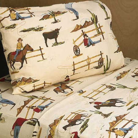 Wild West Cowboy Western Twin Size Sheet Set