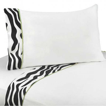 Lime Green Zebra Queen Size Sheet Set