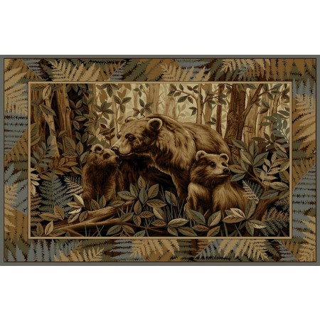 WILDERNESS-752 Mama Bear with Cubs Area Rug - Wilderness Collection