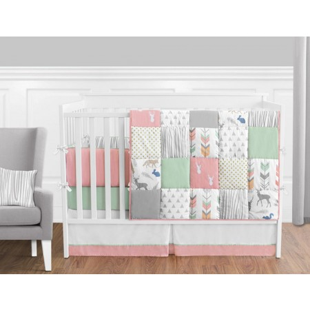 Woodsy Coral, Mint & Grey 11 Piece Bumperless Crib Set by Sweet Jojo Design