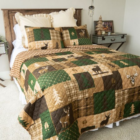 Green Forest Queen Quilt Set