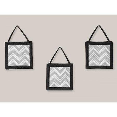Zig Zag Black & Gray Chevron Print Wall Hanging