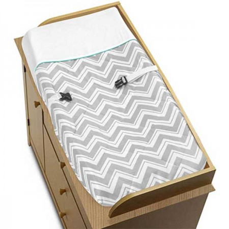 Zig Zag Turquoise & Gray Chevron Print Changing Pad Cover