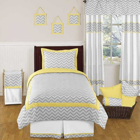 Zig Zag Yellow & Gray Chevron Print Comforter Set - Twin Size