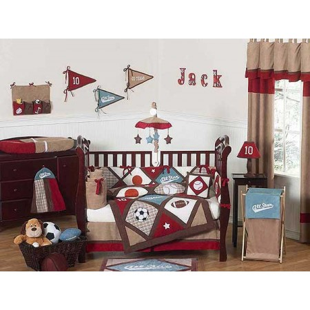 All Star Sports Crib Bedding Set by Sweet Jojo Designs - 11 piece (no bumpers)