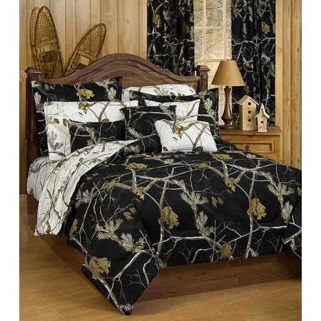 AP Black and White Camo Bed Set - Twin Size Camouflage Comforter & Sham Set
