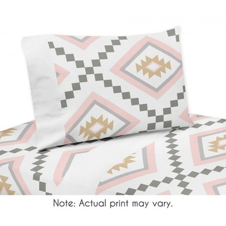 Aztec Pink & Gray Queen Size Sheet Set