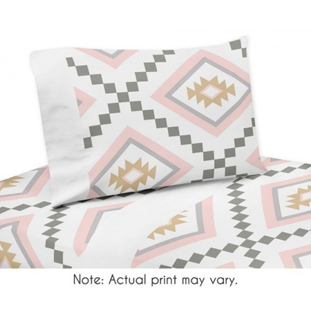 Aztec Pink & Gray Twin Size Sheet Set