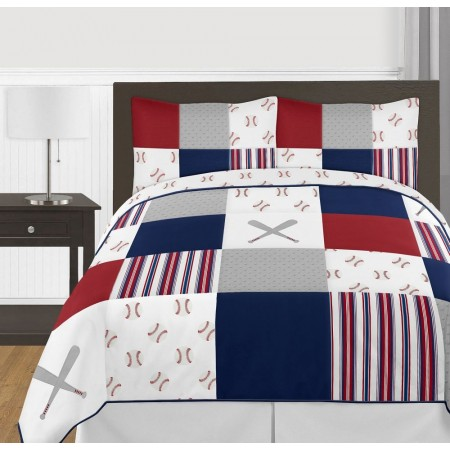 Baseball Patch Comforter Set - 3 Piece Full/Queen Size By Sweet Jojo Designs