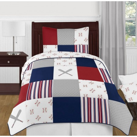 Baseball Patch Bedding Set - 4 Piece Twin Size By Sweet Jojo Designs