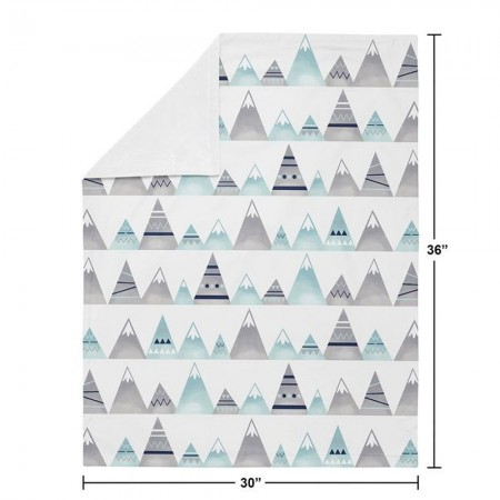 Mountains Grey and Aqua Baby Blanket
