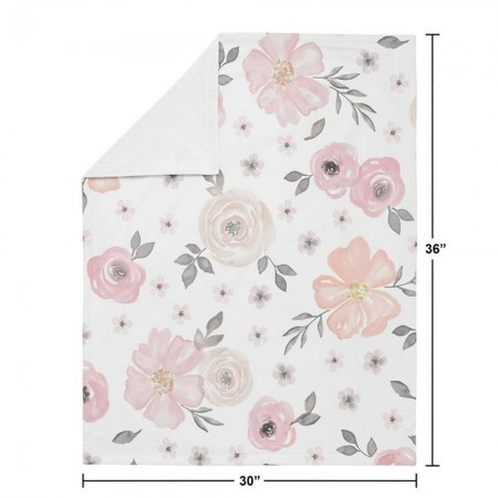 Watercolor Floral Pink and Grey Baby Blanket