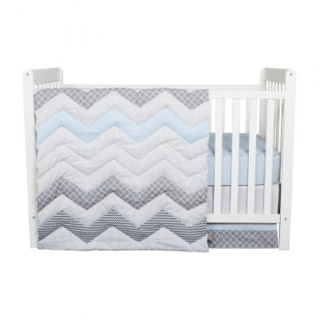 Blue Taffy Chevron 3 Piece Crib Bedding Set