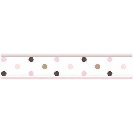 Pink and Brown Mod Dots Wall Border