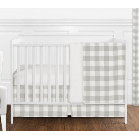 Gray & White Buffalo Check Crib Bedding Set by Sweet Jojo Designs - 4 piece