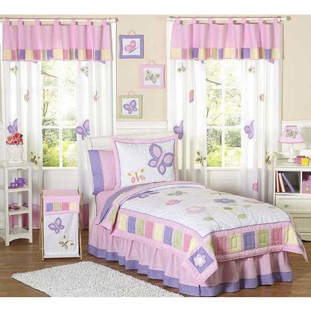 Butterfly Pink & Lavender Bedding Set - 4 Piece Twin Size By Sweet Jojo Designs
