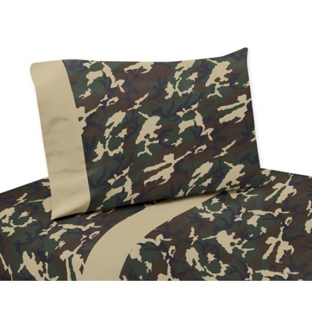 Green Camouflage Twin Size Sheet Set
