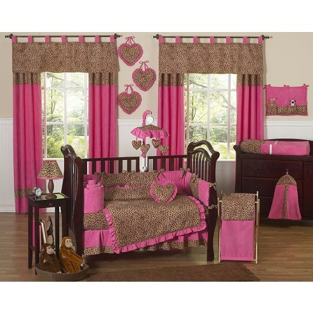 Cheetah Pink 11 Piece Bumperless Crib Set by Sweet Jojo Design