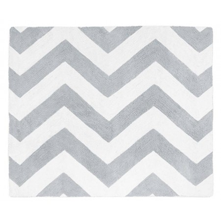 Grey & White Chevron Floor Rug
