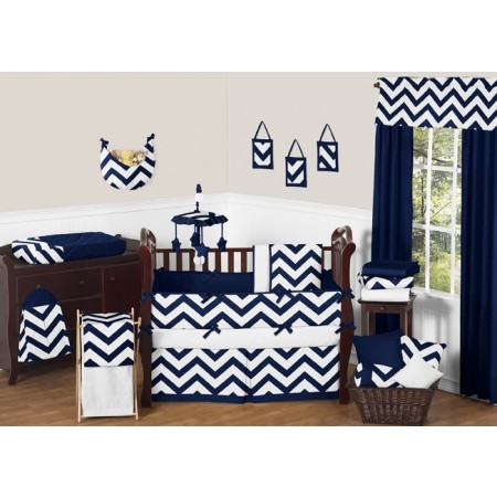 Navy & White Chevron Print 11 Piece Bumperless Crib Set by Sweet Jojo Design