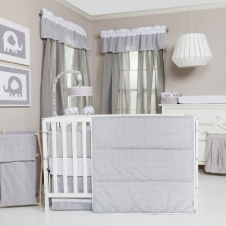Gray and White Circles 3 Piece Crib Bedding Set