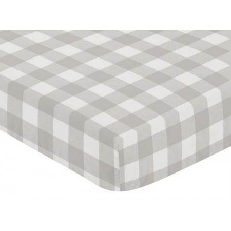 Gray & White Buffalo Check Crib Sheet