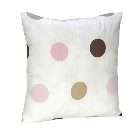 Pink and Brown Mod Dots Accent Pillow