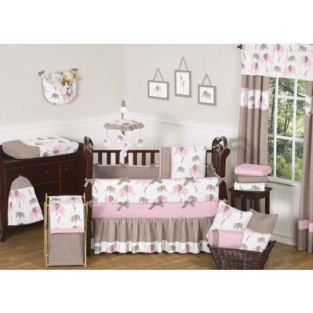 Elephant Pink & Taupe 11 Piece Bumperless Crib Set by Sweet Jojo Design