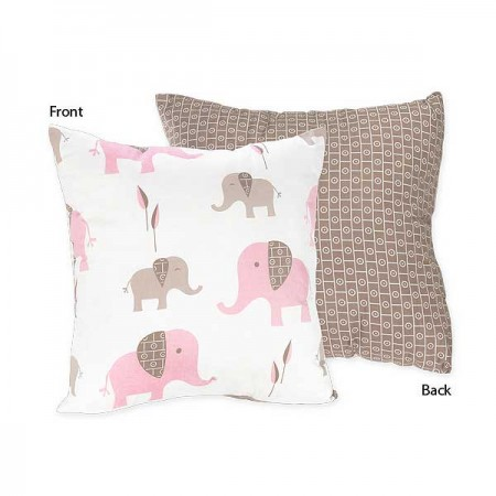 Elephant Pink & Taupe Accent Pillow