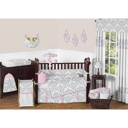 Pink & Gray Elizabeth 11 Piece Bumperless Crib Set by Sweet Jojo Design