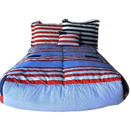 Red, White & Blue Patriotic Bunkbed Topper 4 Corner Hugger Comforters by California Kids
