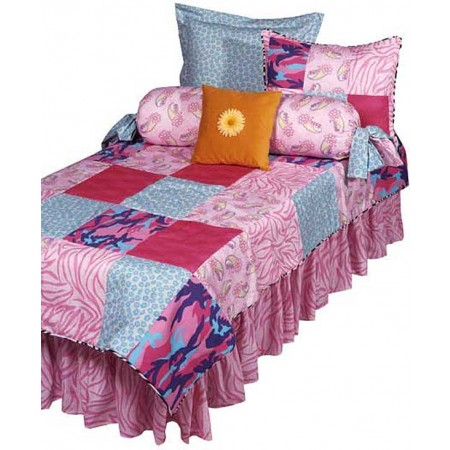 Dorm Bedding - Patchwork Pink XL Twin Size Fitted Comforter