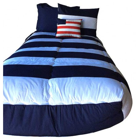 Navy Blue Striped Bunkbed Hugger Comforter by California Kids