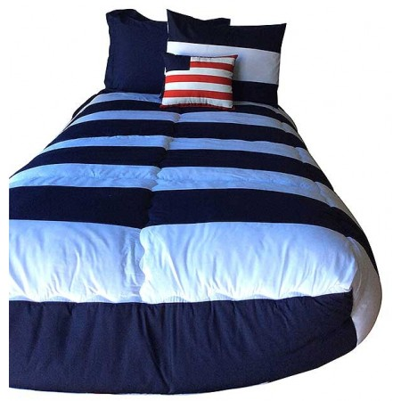 Navy Blue Striped Bunkbed Hugger with 4 Fitted Corners