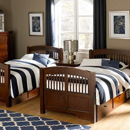 Hayden Navy Blue & White Stripe Bunkbed Comforter by California Kids