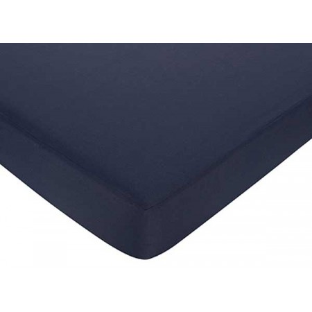 Hotel White & Navy Blue Crib Sheet
