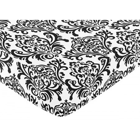 Isabella Pink Crib Sheet - Choose Damask Print, Black or White