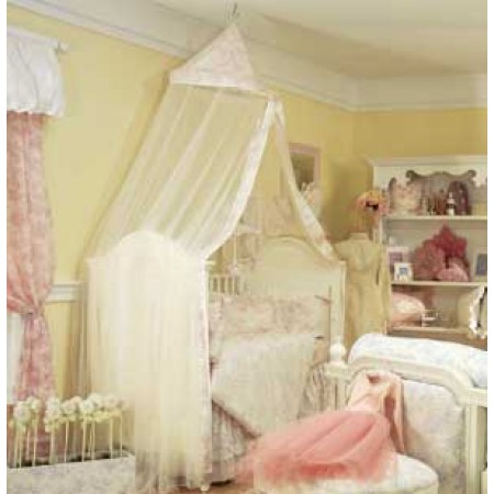 Isabella Pink Crib Pillow (Burnout Over White Pique W/Burnout Ruffle) by California Kids