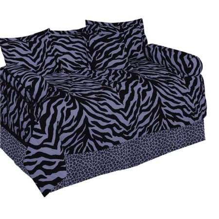Black & Purple Zebra Print Daybed Set