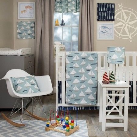 Little Sailboat 3 Piece Crib Bedding Set - Sweet Potato