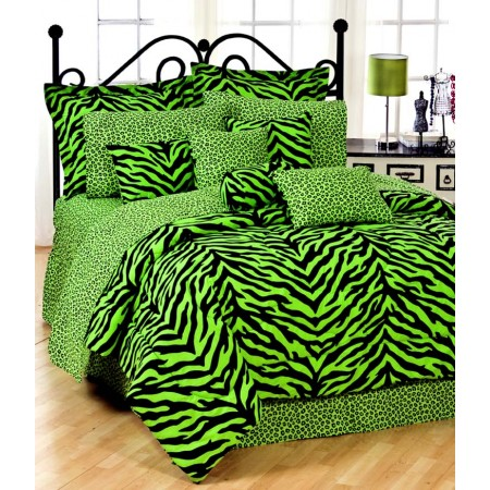 Lime Green Zebra Print Comforter and Pillow Sham - Queen Size
